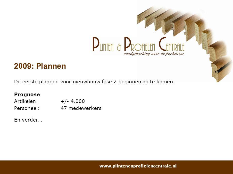 2009: Plannen De eerste plannen voor nieuwbouw fase 2 beginnen op te komen. Prognose. Artikelen: +/- 4.000.
