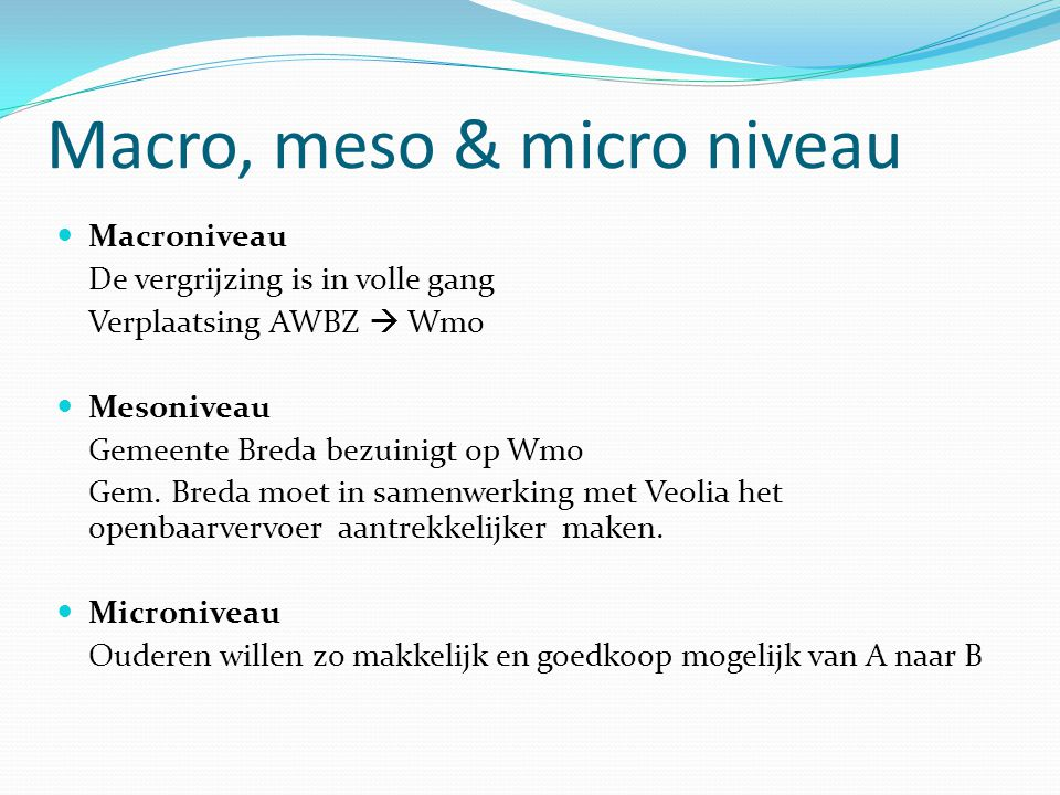 Macro, meso & micro niveau