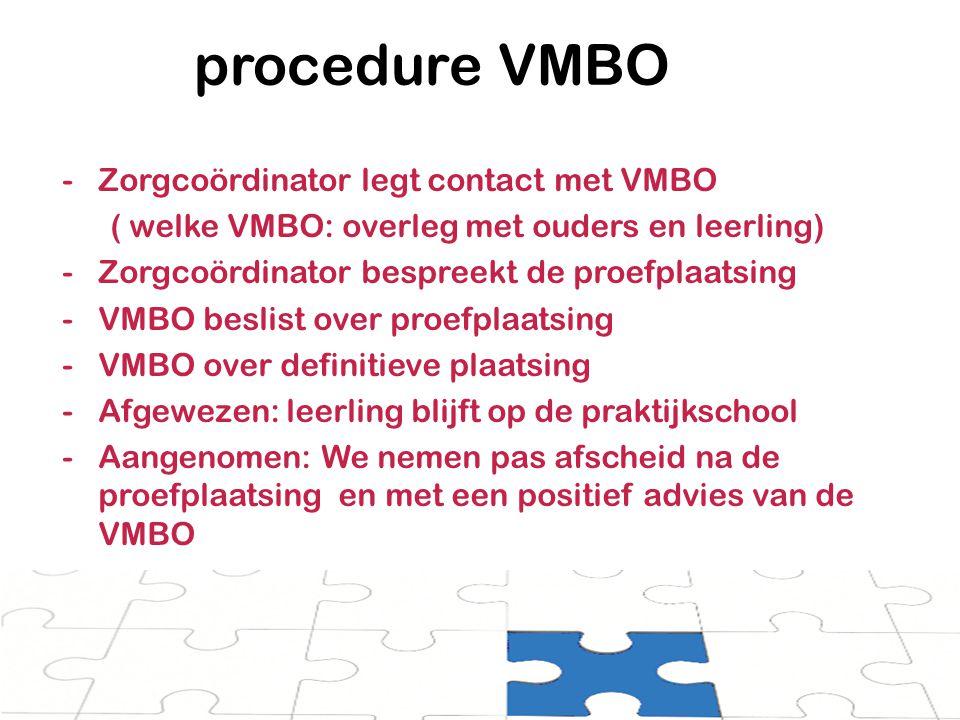 procedure VMBO Zorgcoördinator legt contact met VMBO