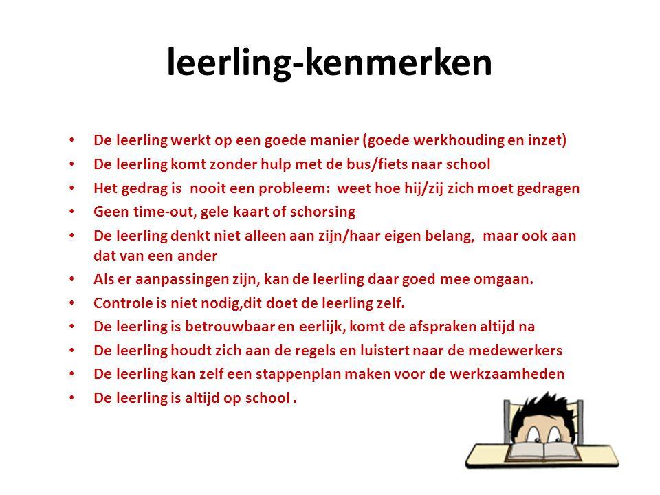 leerling-kenmerken De leerling werkt op een goede manier (goede werkhouding en inzet) De leerling komt zonder hulp met de bus/fiets naar school.
