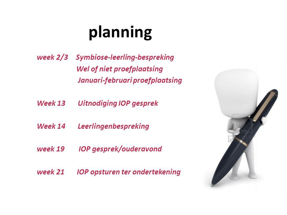 planning week 2/3 Symbiose-leerling-bespreking