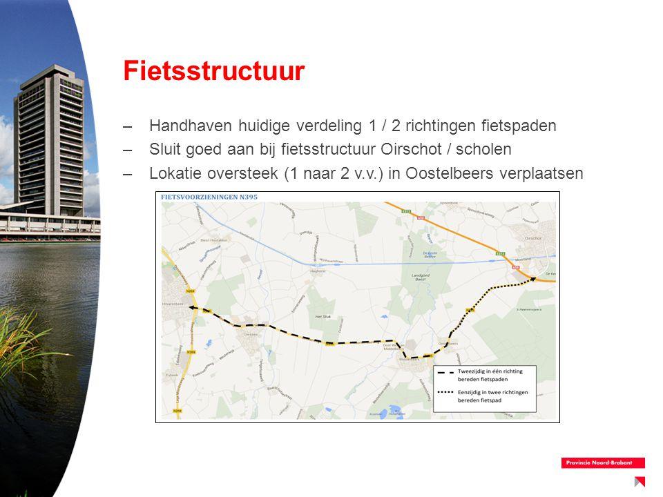 Fietsstructuur Handhaven huidige verdeling 1 / 2 richtingen fietspaden