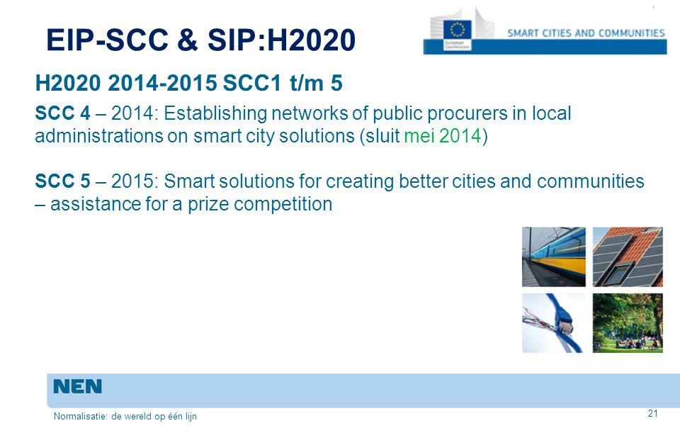 EIP-SCC & SIP:H2020 H2020 2014-2015 SCC1 t/m 5