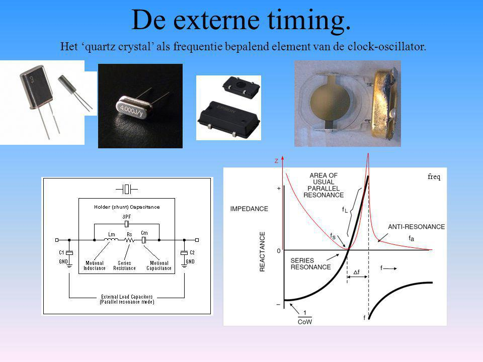 De externe timing. Het 'quartz crystal' als frequentie bepalend element van de clock-oscillator.