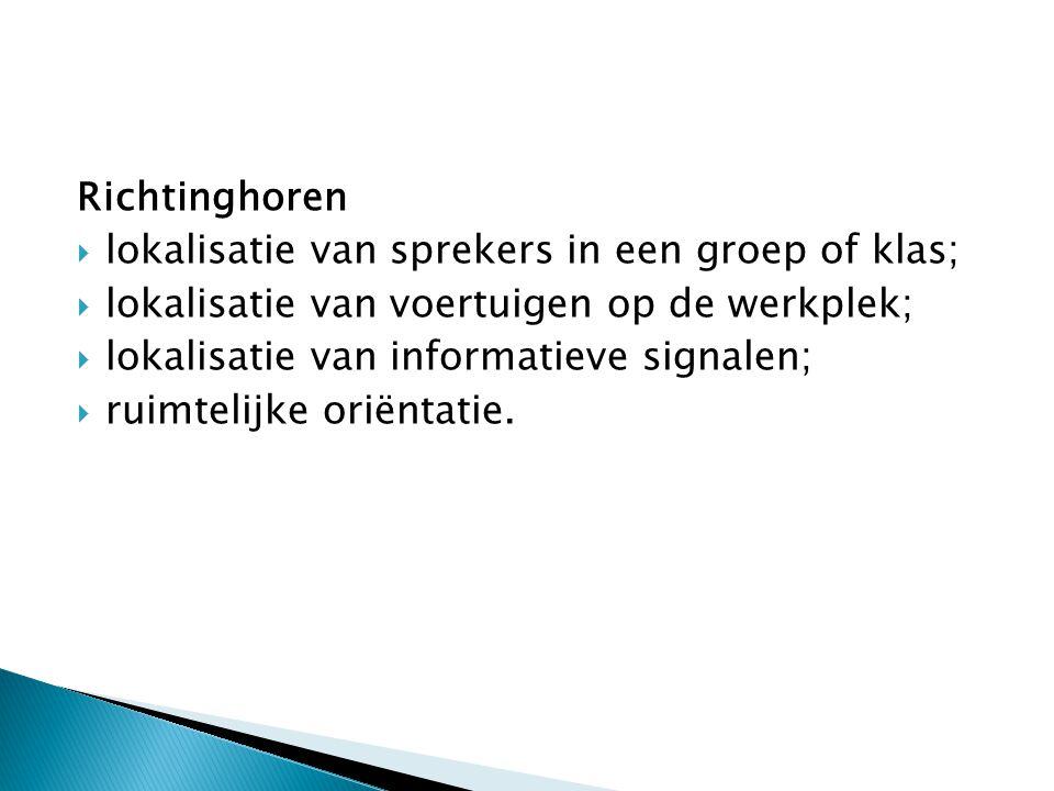 Richtinghoren lokalisatie van sprekers in een groep of klas; lokalisatie van voertuigen op de werkplek;