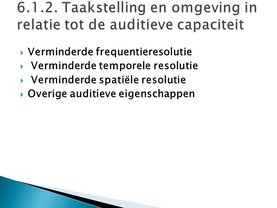 6.1.2. Taakstelling en omgeving in relatie tot de auditieve capaciteit