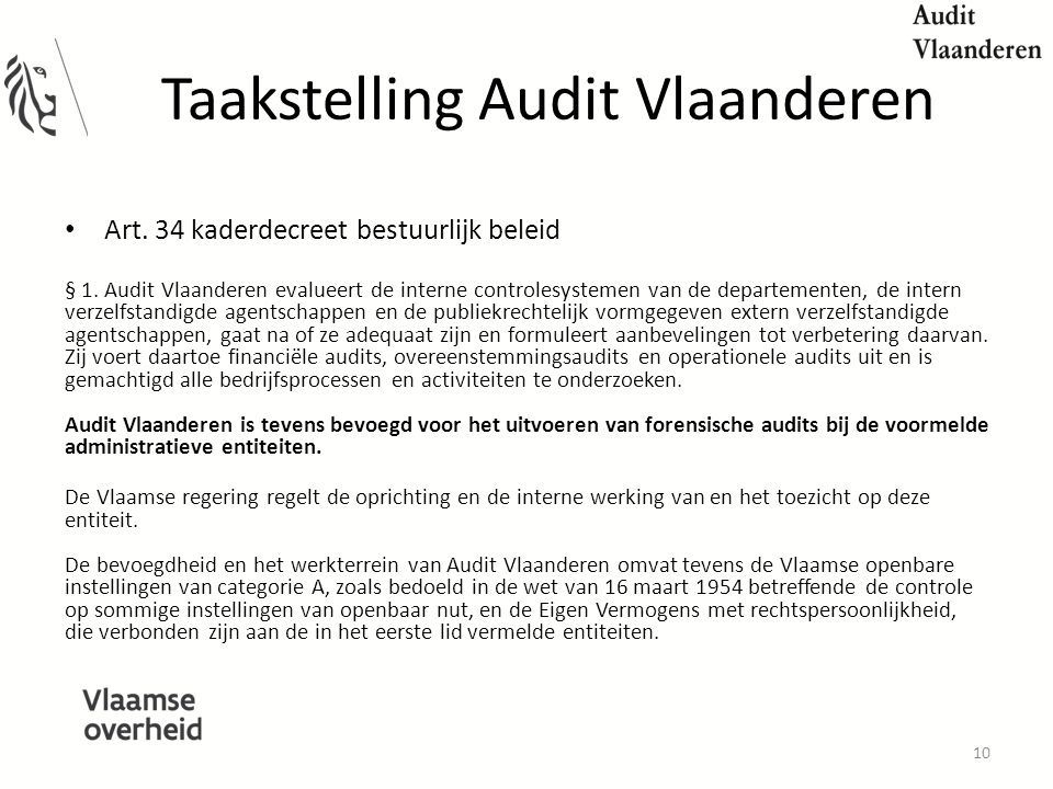 Taakstelling Audit Vlaanderen