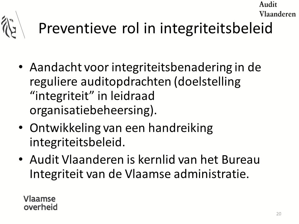 Preventieve rol in integriteitsbeleid