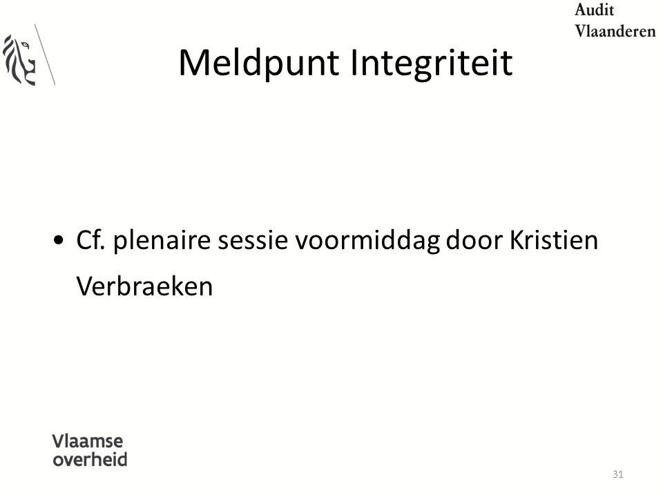 Meldpunt Integriteit Cf. plenaire sessie voormiddag door Kristien Verbraeken