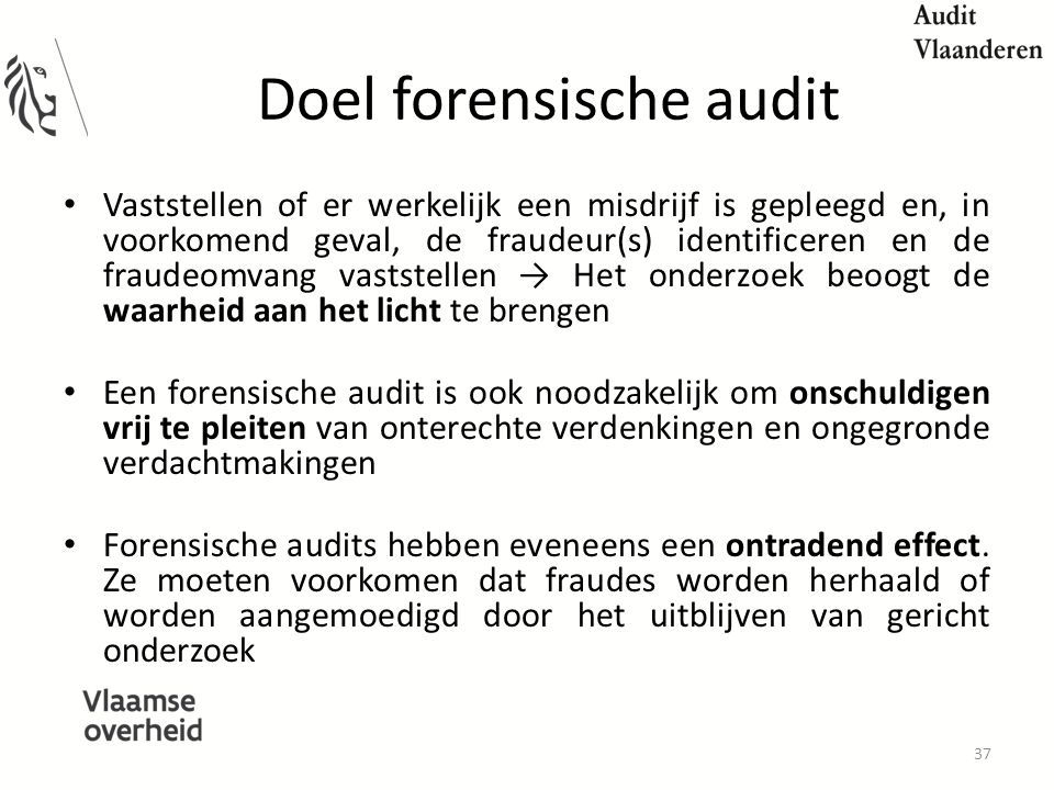 Doel forensische audit