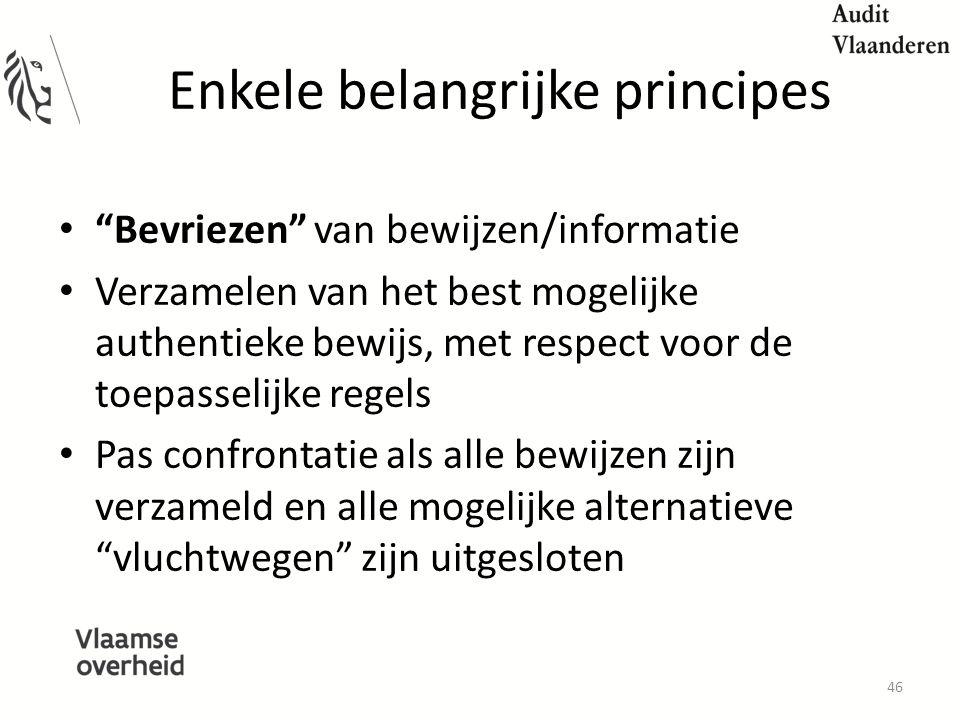 Enkele belangrijke principes