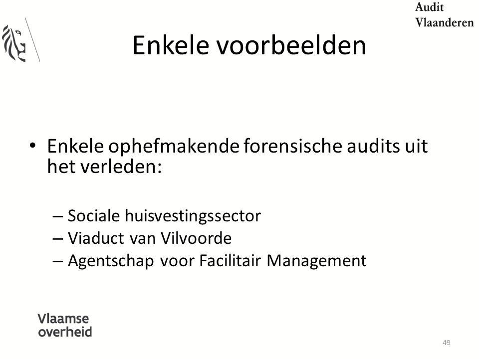 Enkele voorbeelden Enkele ophefmakende forensische audits uit het verleden: Sociale huisvestingssector.