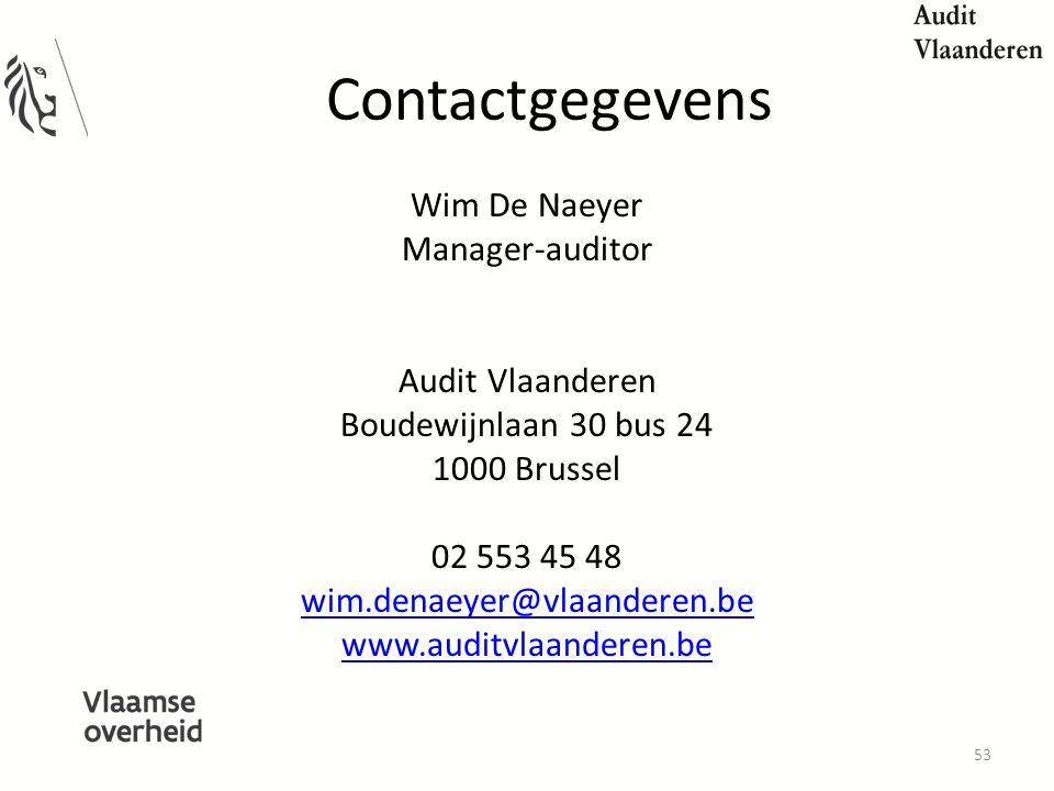 Contactgegevens Wim De Naeyer Manager-auditor Audit Vlaanderen