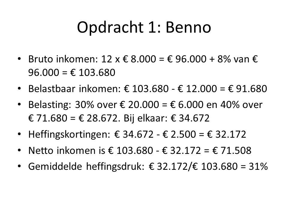 Opdracht 1: Benno Bruto inkomen: 12 x € 8.000 = € 96.000 + 8% van € 96.000 = € 103.680. Belastbaar inkomen: € 103.680 - € 12.000 = € 91.680.