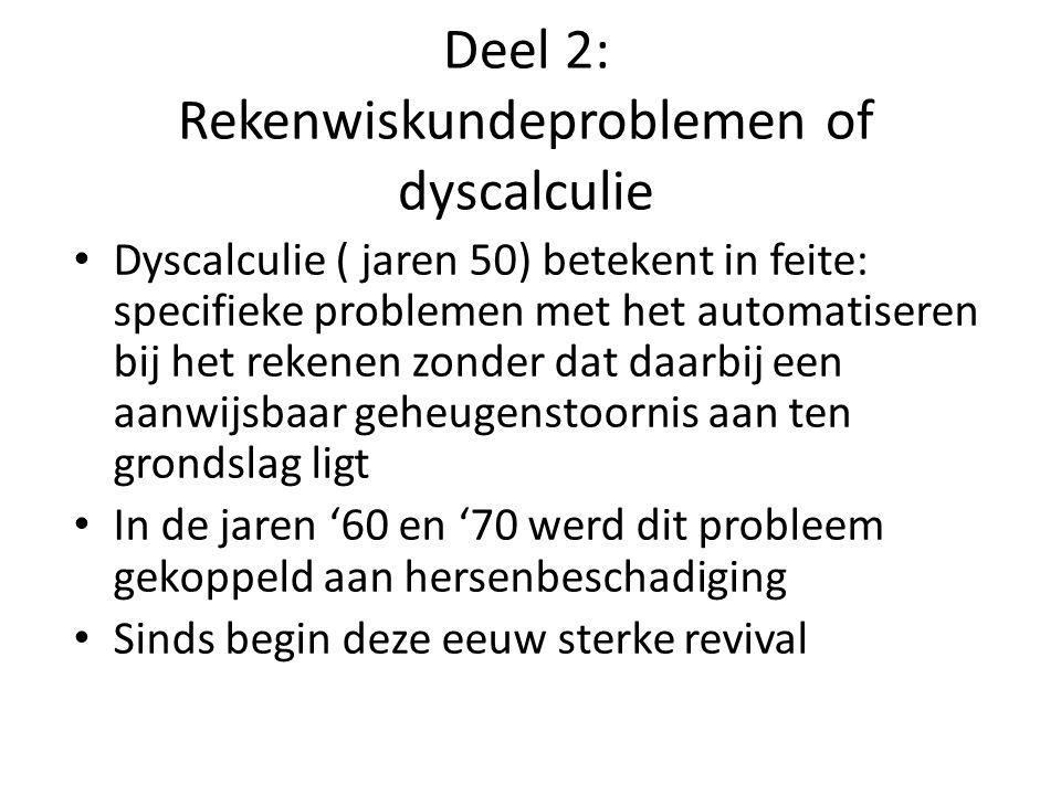 Deel 2: Rekenwiskundeproblemen of dyscalculie