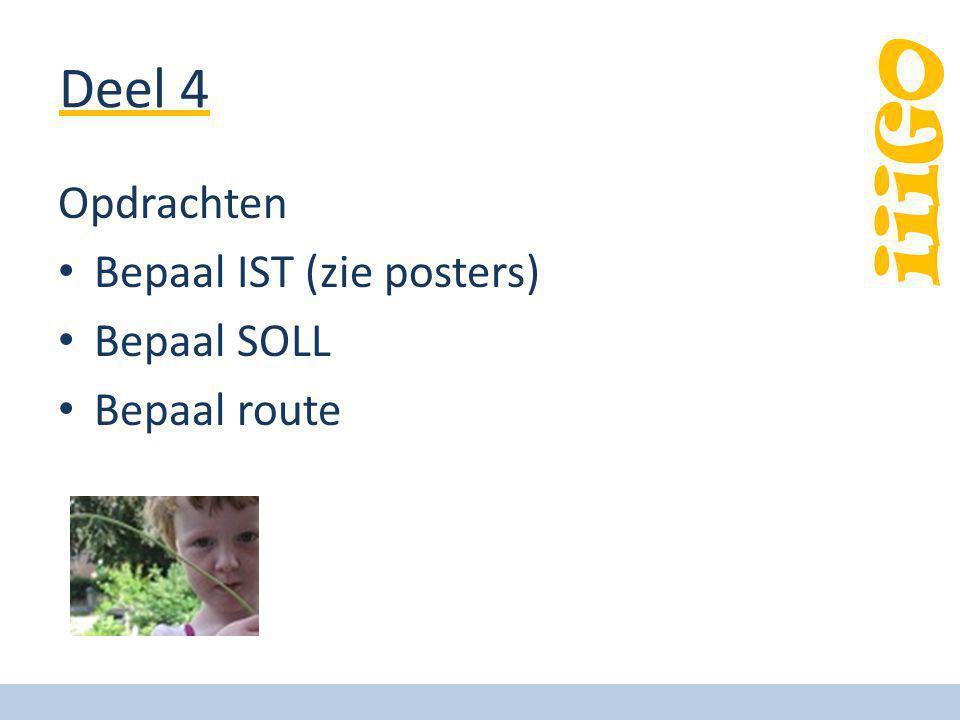 Deel 4 Opdrachten Bepaal IST (zie posters) Bepaal SOLL Bepaal route