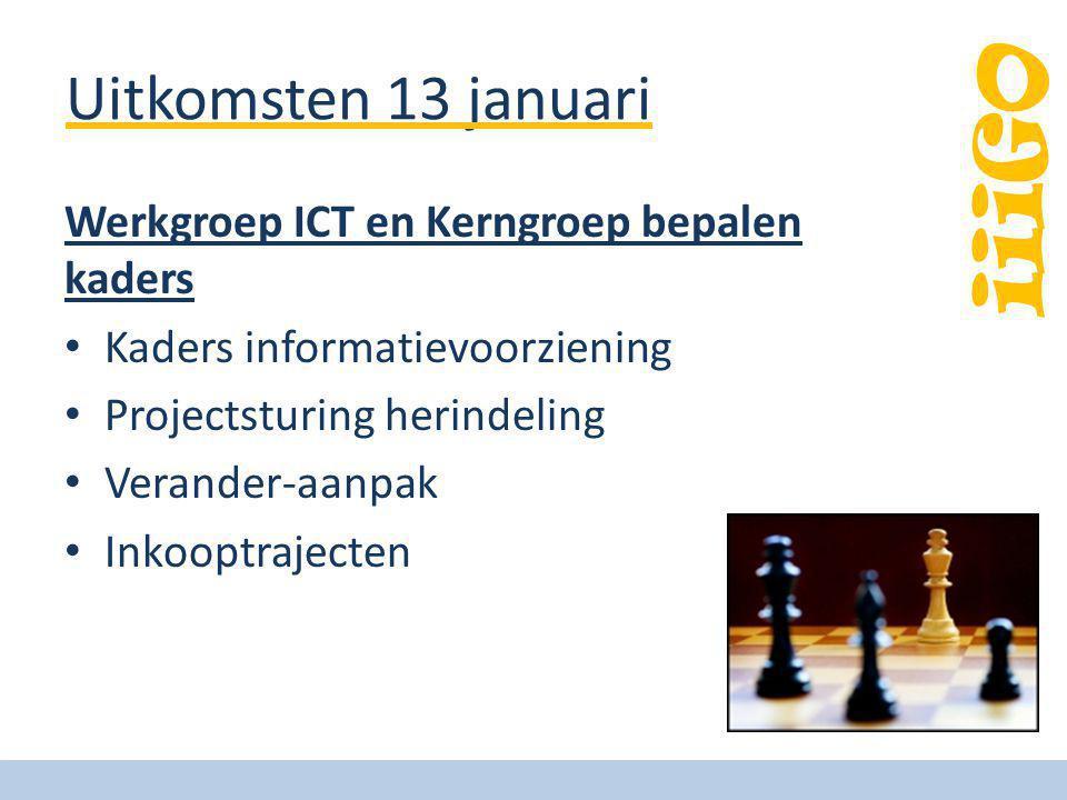 Uitkomsten 13 januari Werkgroep ICT en Kerngroep bepalen kaders