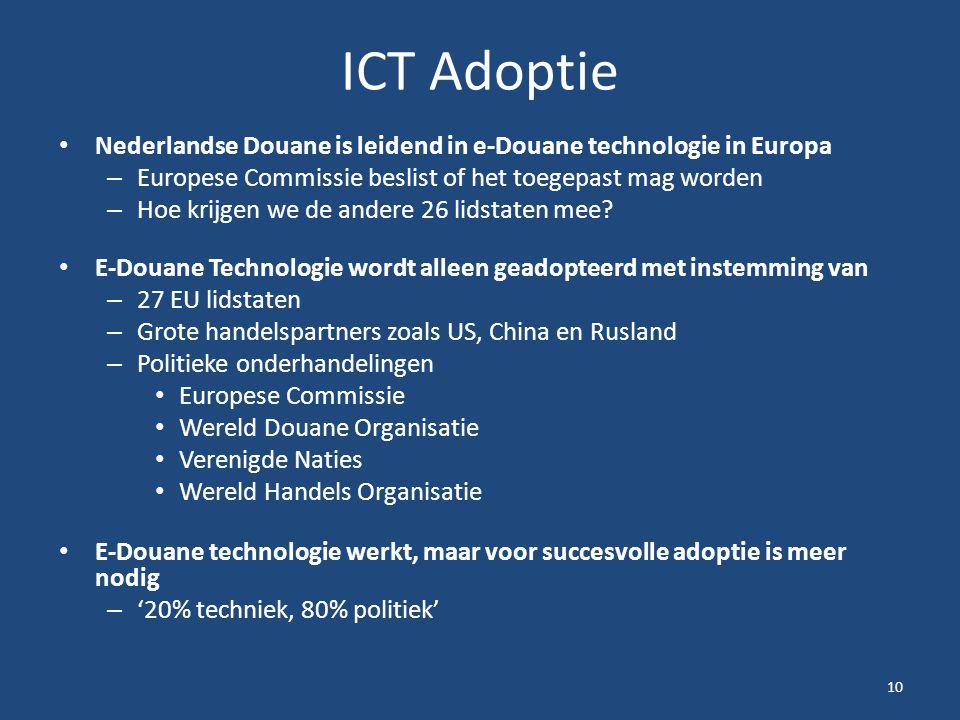 ICT Adoptie Nederlandse Douane is leidend in e-Douane technologie in Europa. Europese Commissie beslist of het toegepast mag worden.