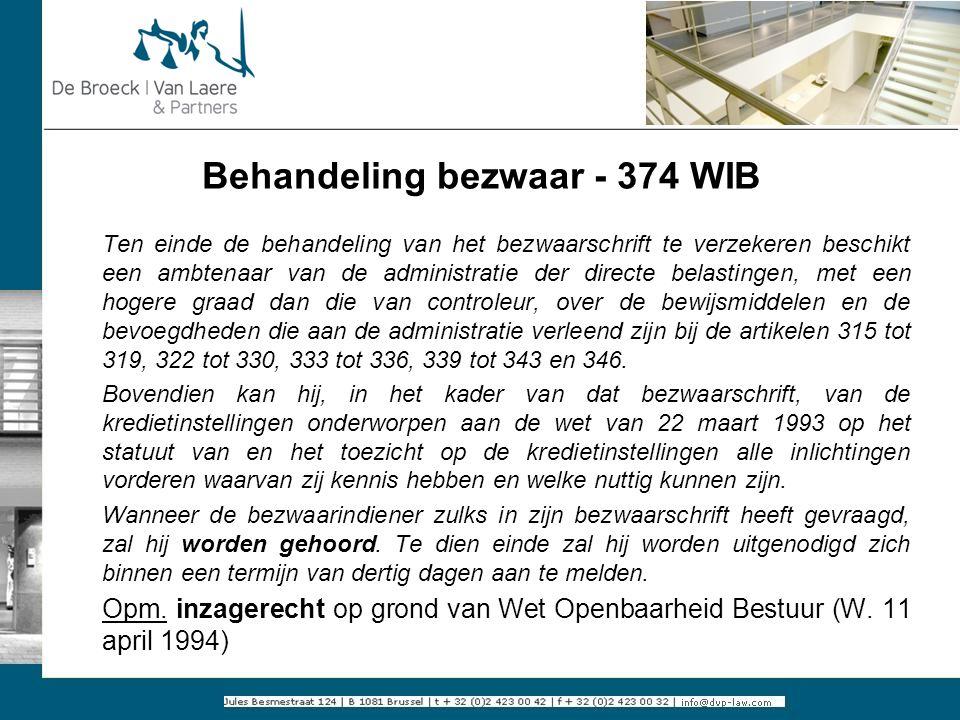 Behandeling bezwaar - 374 WIB