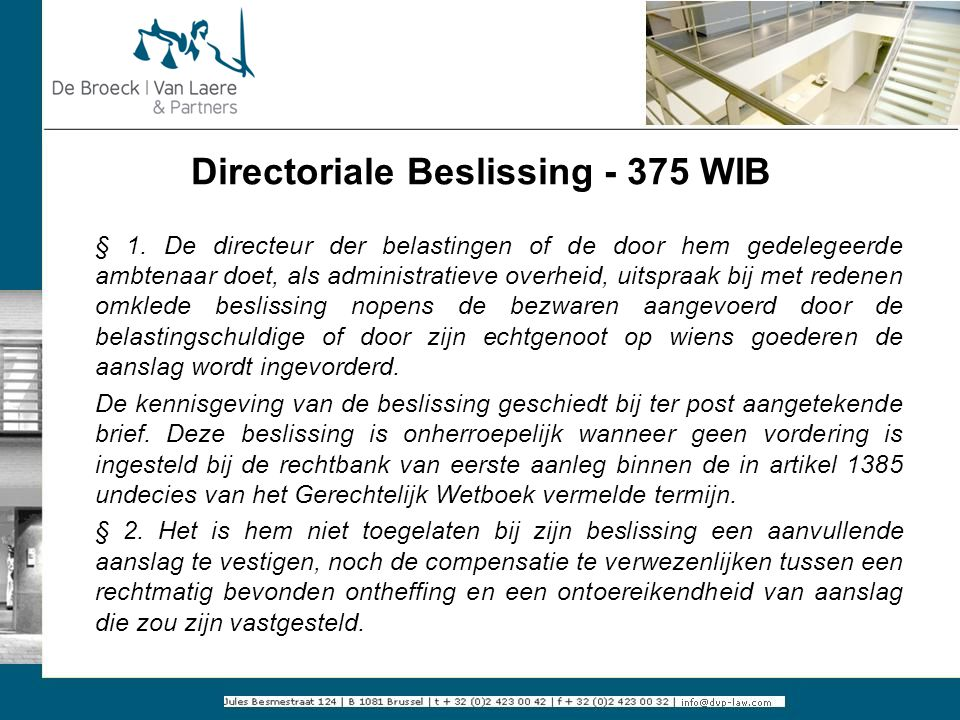Directoriale Beslissing - 375 WIB