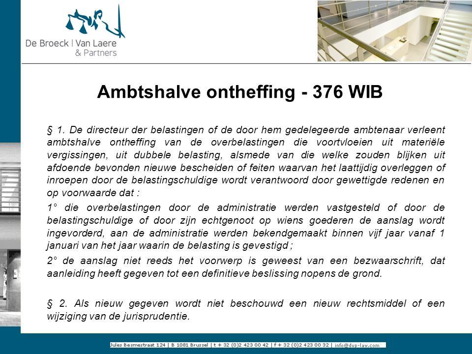Ambtshalve ontheffing - 376 WIB