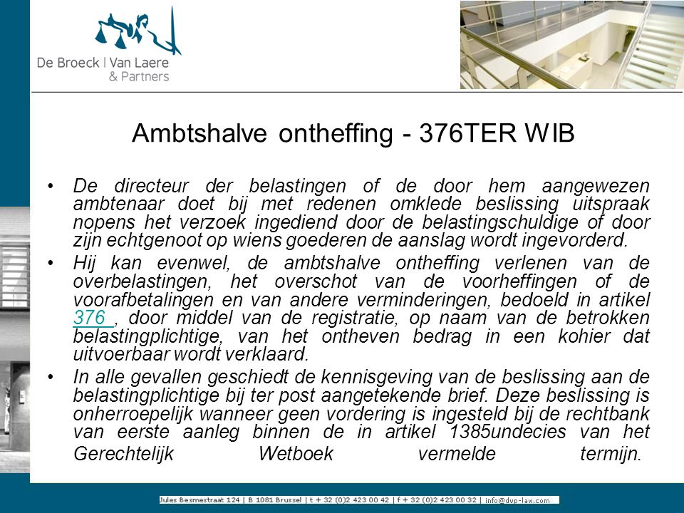Ambtshalve ontheffing - 376TER WIB