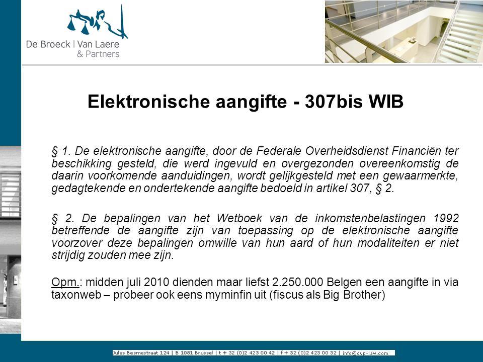 Elektronische aangifte - 307bis WIB