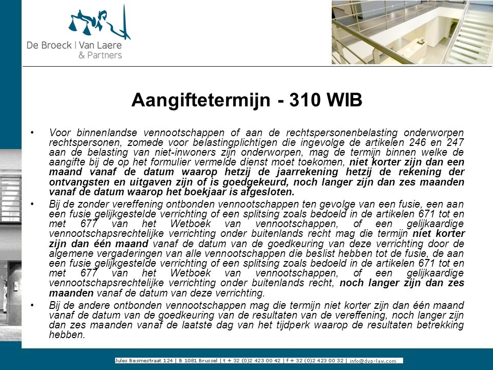 Aangiftetermijn - 310 WIB