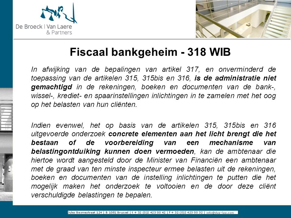 Fiscaal bankgeheim - 318 WIB