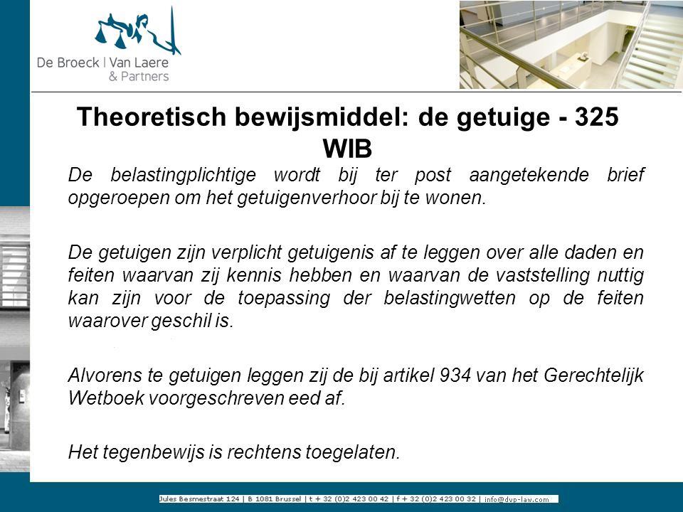 Theoretisch bewijsmiddel: de getuige - 325 WIB