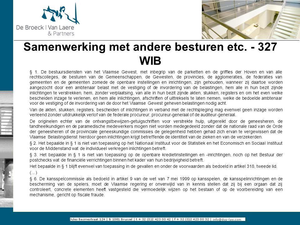 Samenwerking met andere besturen etc. - 327 WIB