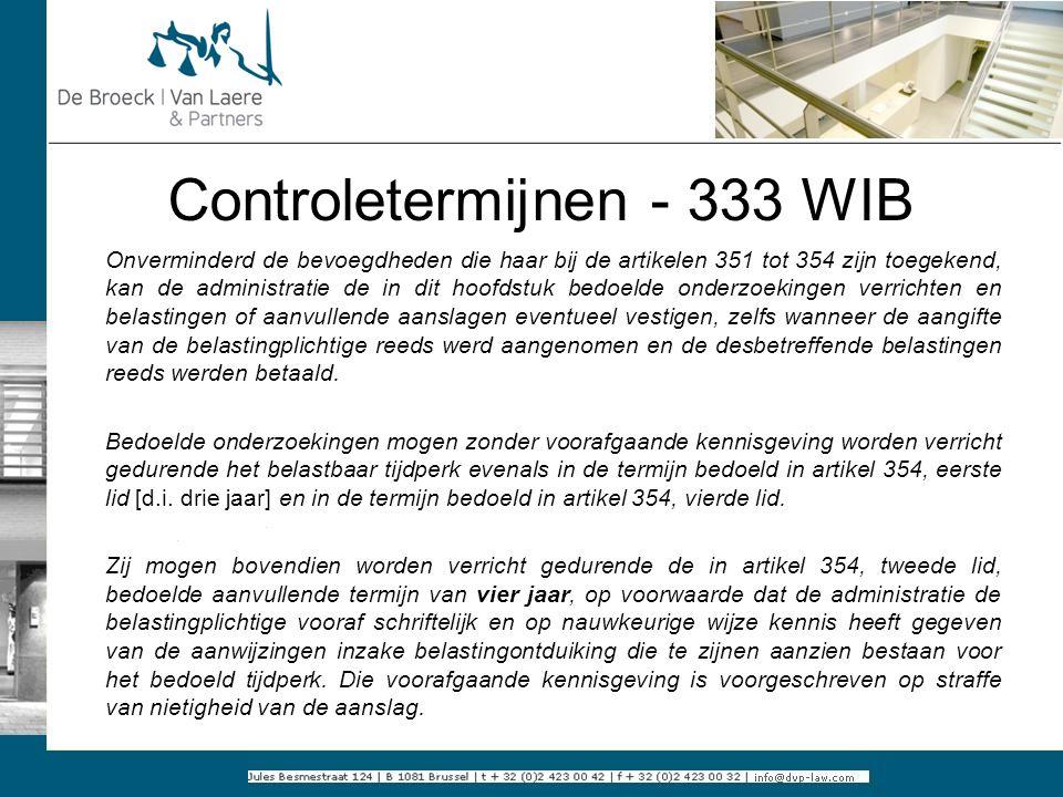 Controletermijnen - 333 WIB