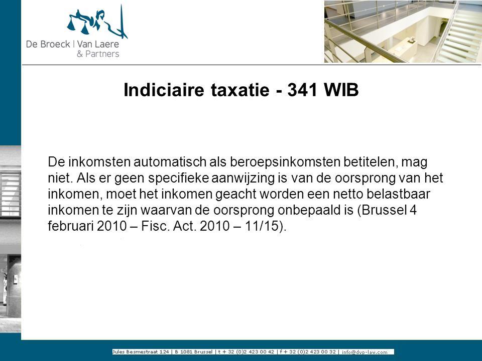 Indiciaire taxatie - 341 WIB