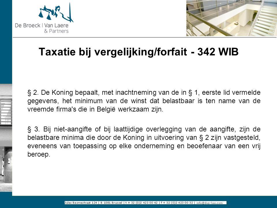 Taxatie bij vergelijking/forfait - 342 WIB