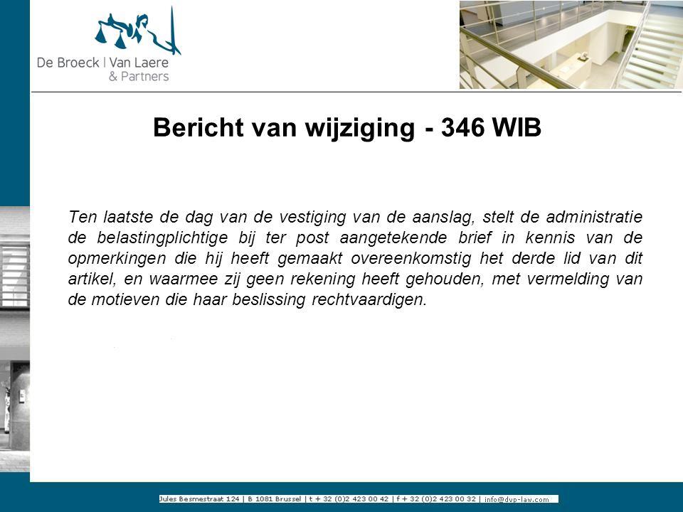 Bericht van wijziging - 346 WIB