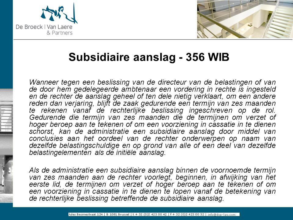 Subsidiaire aanslag - 356 WIB