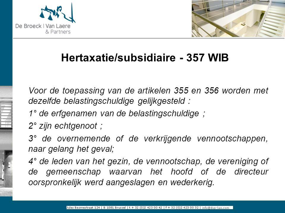 Hertaxatie/subsidiaire - 357 WIB
