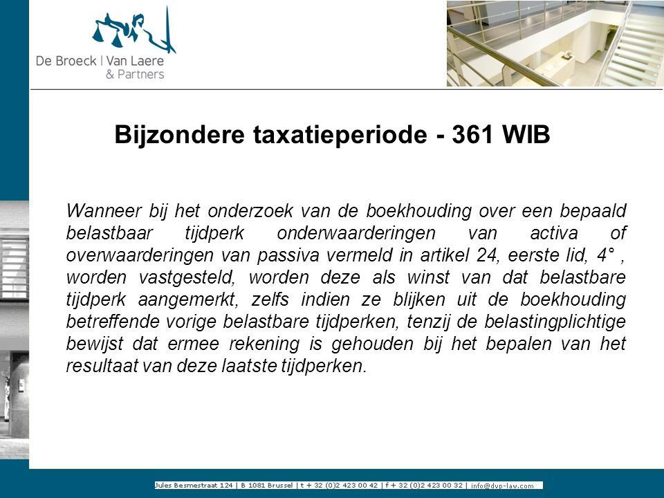 Bijzondere taxatieperiode - 361 WIB