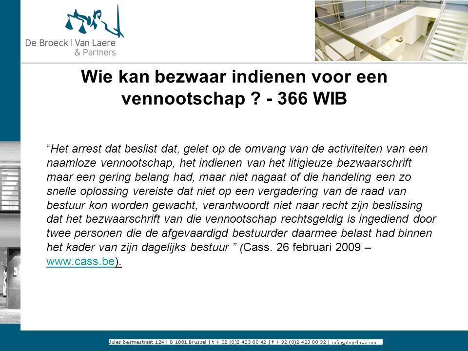 Wie kan bezwaar indienen voor een vennootschap - 366 WIB