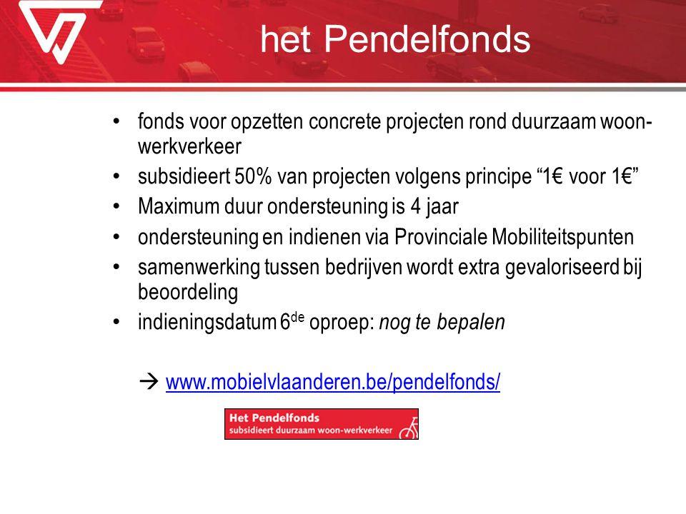 het Pendelfonds fonds voor opzetten concrete projecten rond duurzaam woon-werkverkeer. subsidieert 50% van projecten volgens principe 1€ voor 1€