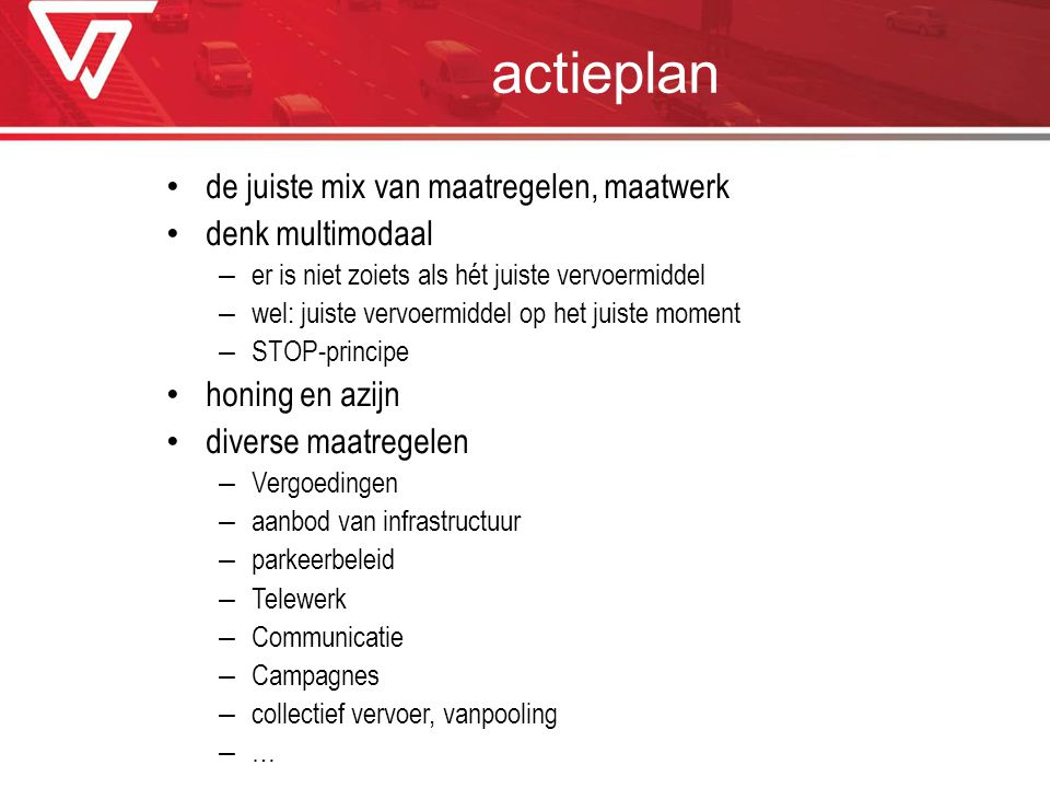 actieplan de juiste mix van maatregelen, maatwerk denk multimodaal