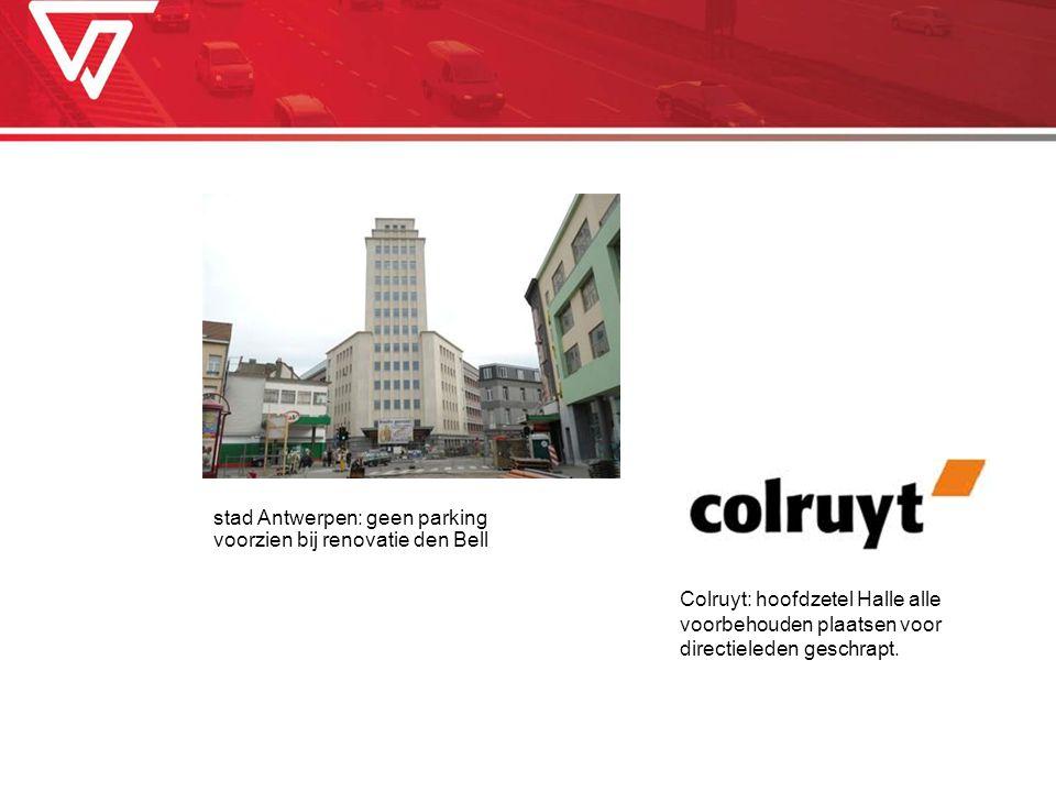 stad Antwerpen: geen parking voorzien bij renovatie den Bell