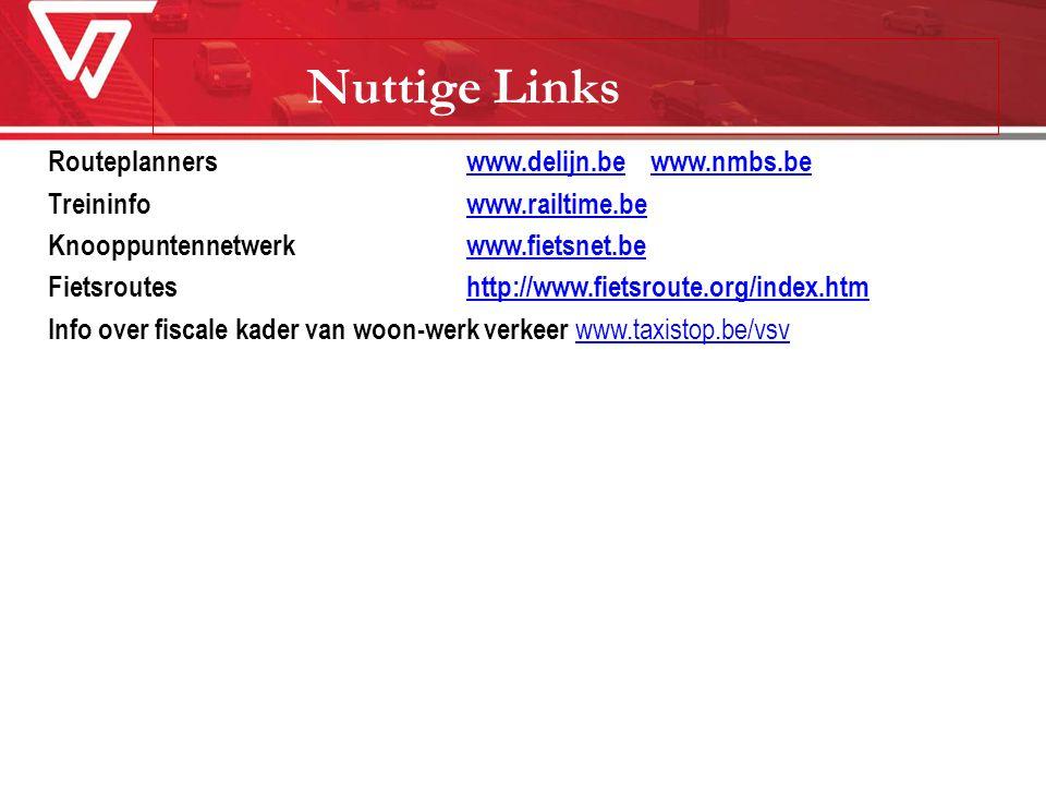 Nuttige Links Routeplanners www.delijn.be www.nmbs.be