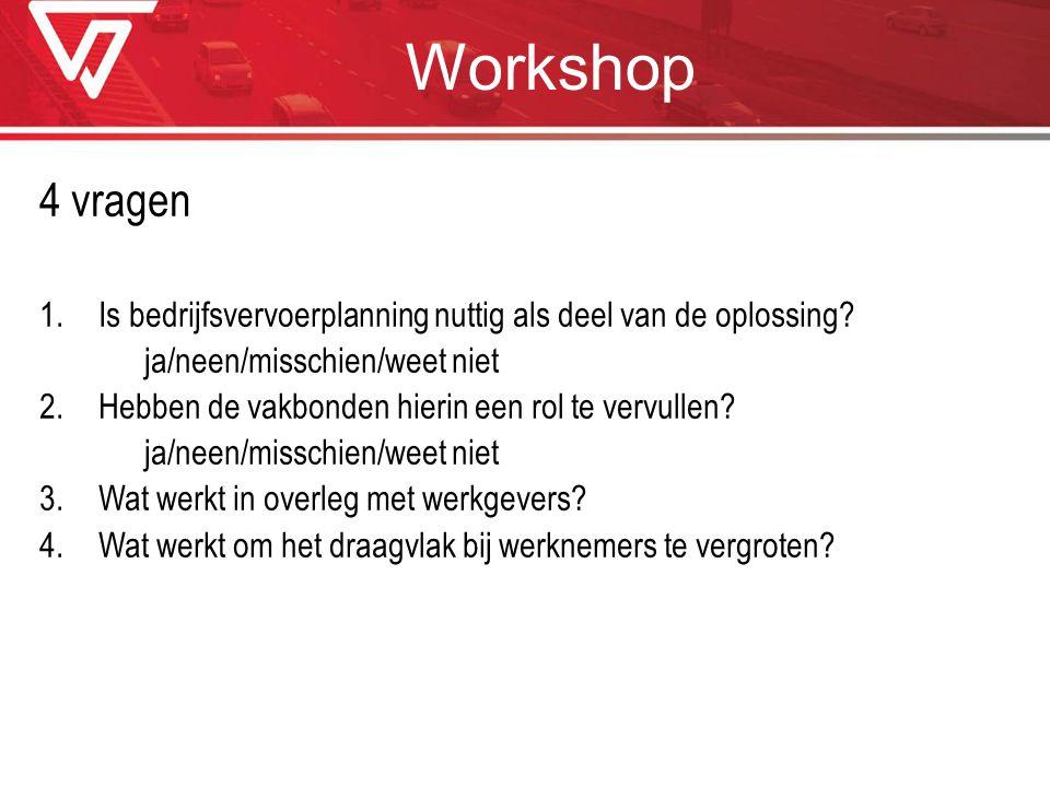 Workshop 4 vragen. Is bedrijfsvervoerplanning nuttig als deel van de oplossing ja/neen/misschien/weet niet.