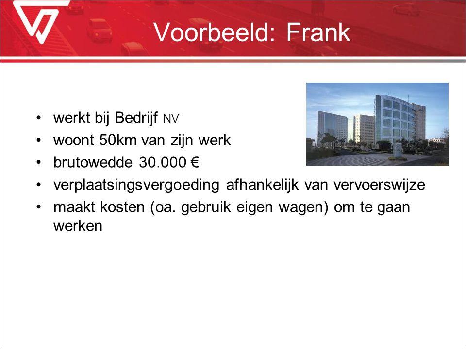 Voorbeeld: Frank werkt bij Bedrijf NV woont 50km van zijn werk