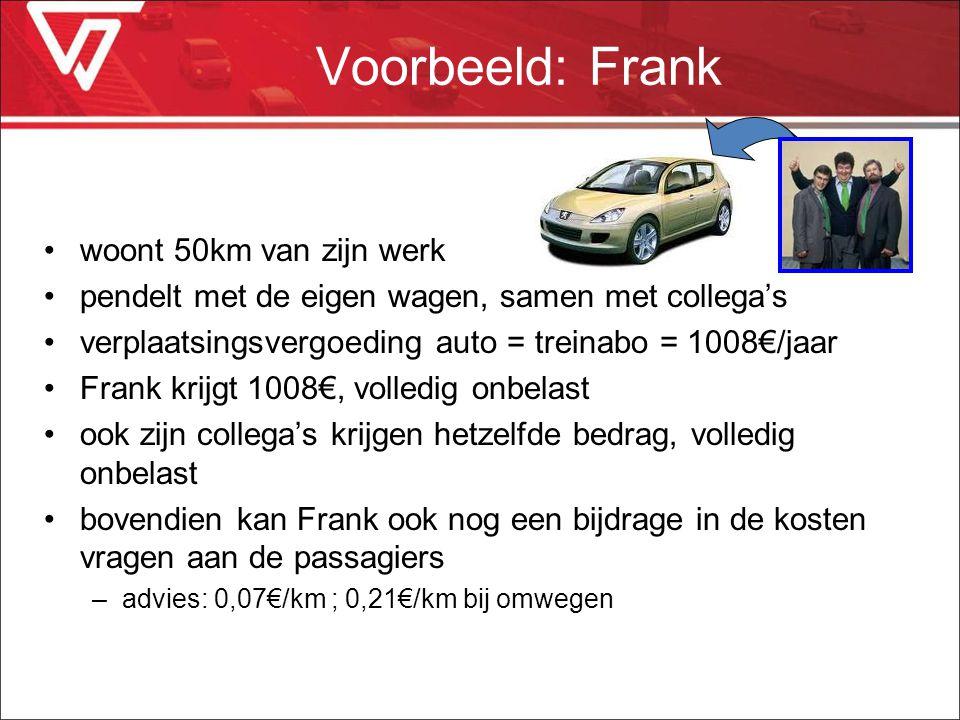 Voorbeeld: Frank woont 50km van zijn werk