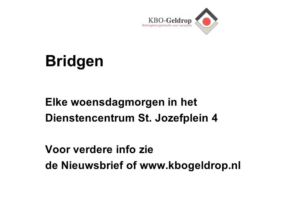 Bridgen Elke woensdagmorgen in het Dienstencentrum St. Jozefplein 4