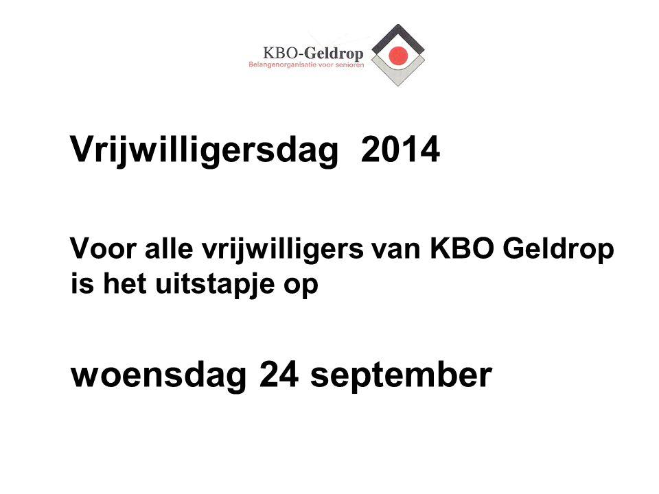 woensdag 24 september Vrijwilligersdag 2014