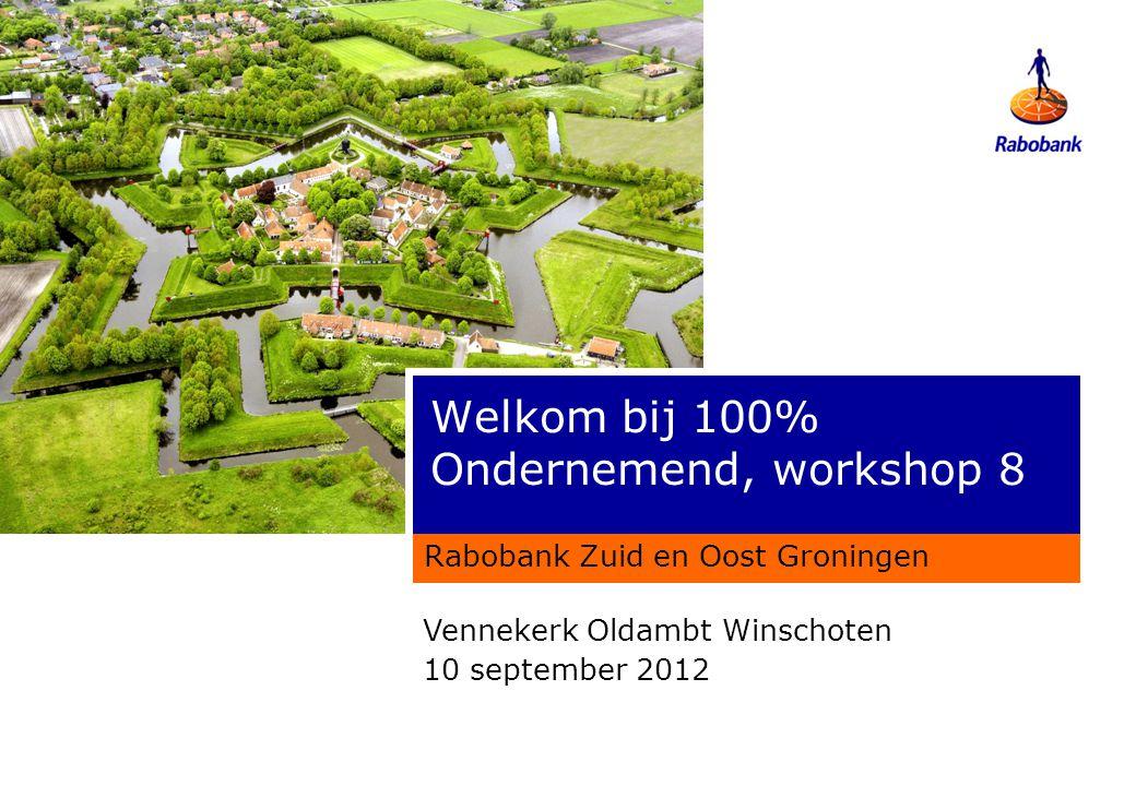 Welkom bij 100% Ondernemend, workshop 8