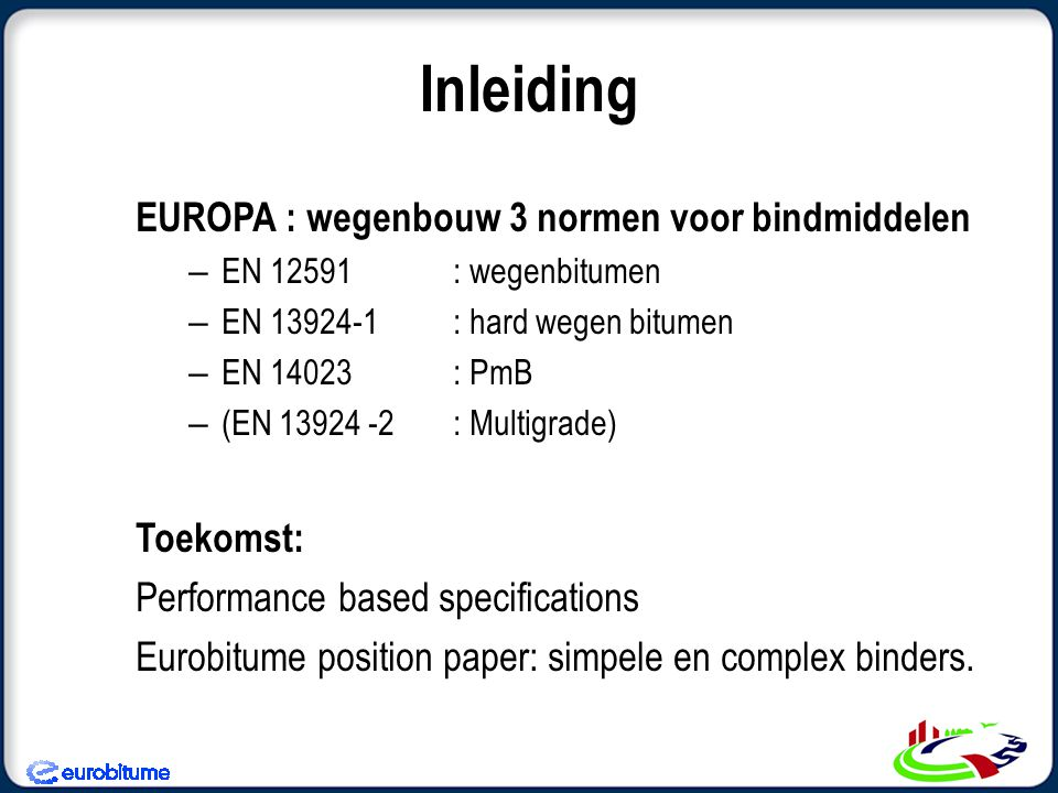 Inleiding EUROPA : wegenbouw 3 normen voor bindmiddelen Toekomst: